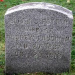 Gravestone of Ellen Potter, wife of Andrew J. Bucklin