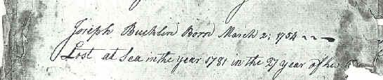 Death Record of Joseph Bucklin 5th